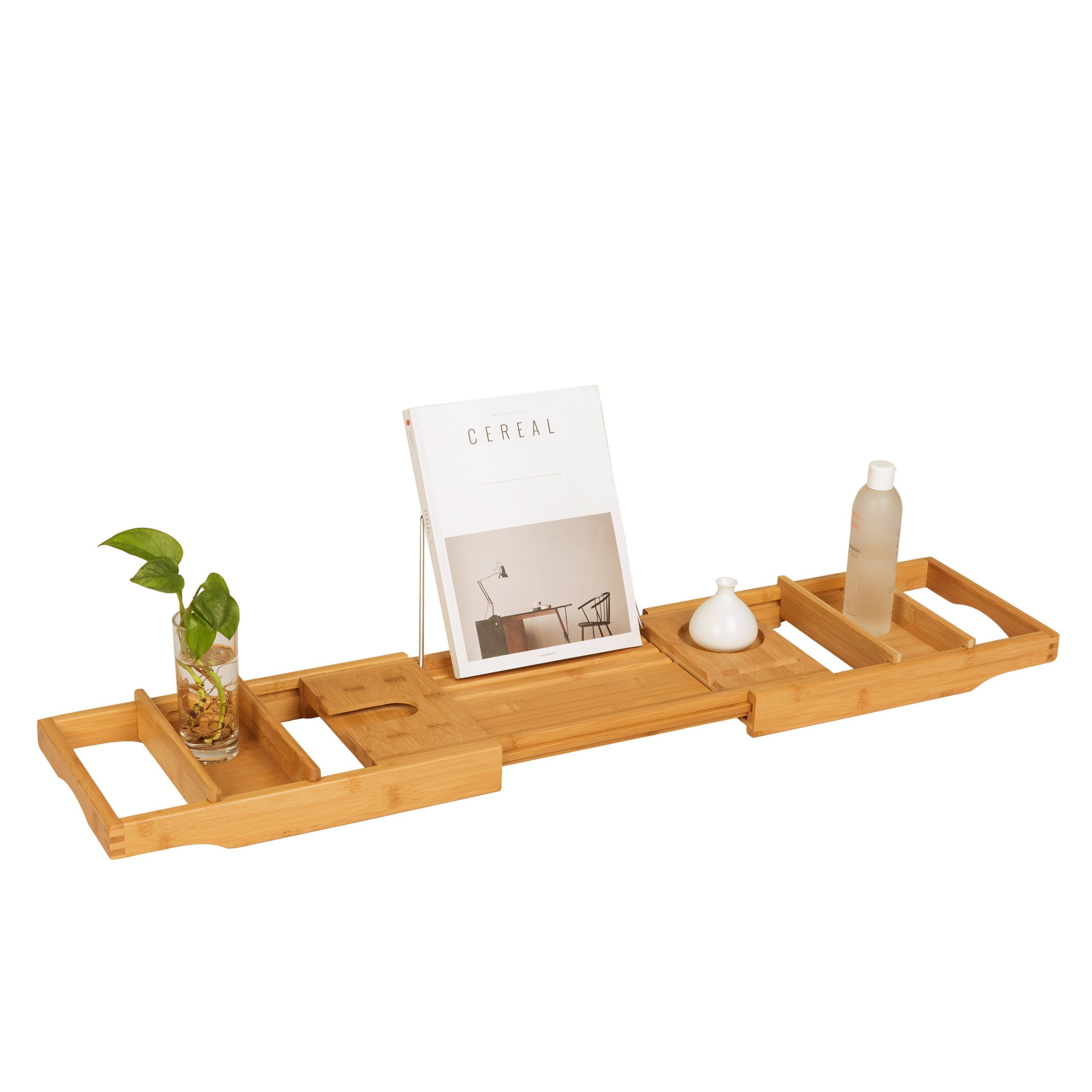 SDADI Extendable Bamboo Bathtub Caddy With 2 Towel Tray 1.0