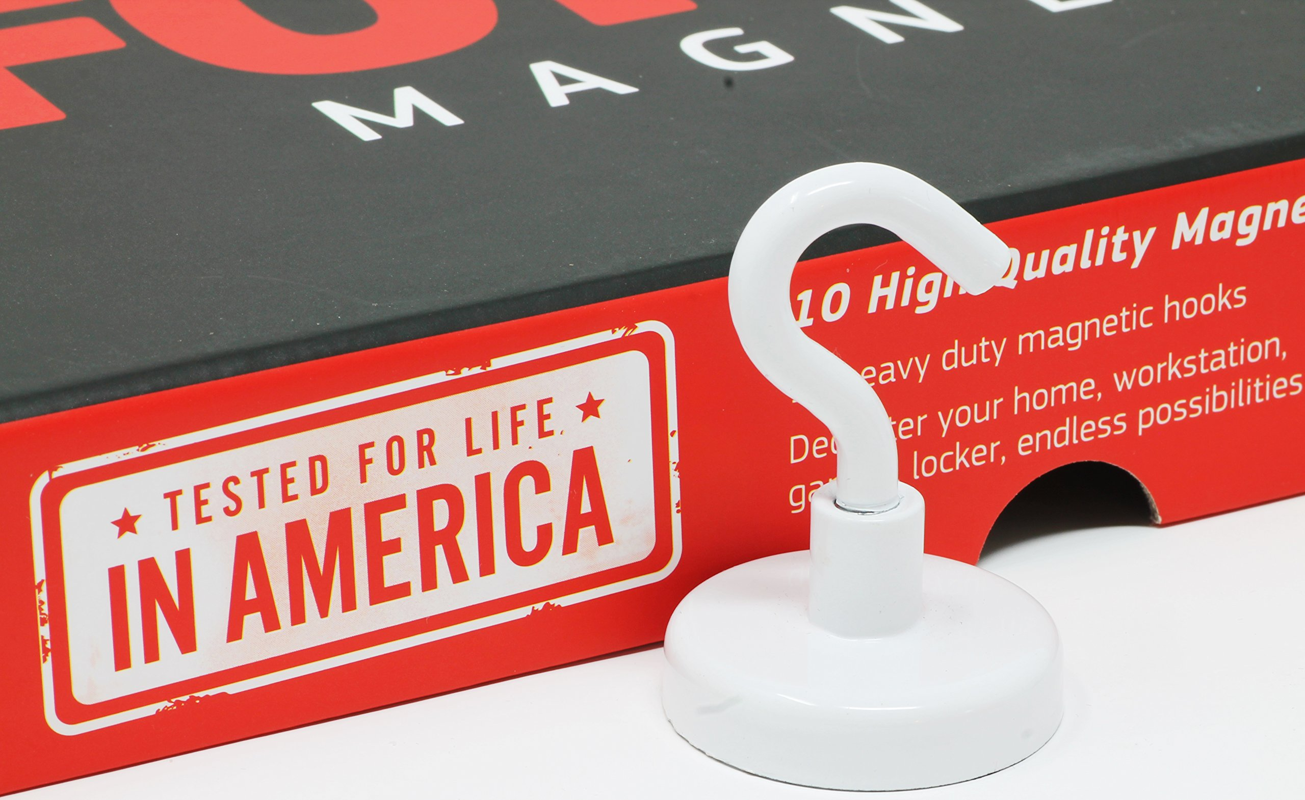 Force Magnet Magnetic Hooks - 10 Magnetic Hooks, Heavy Duty Steep, Comes with Bonus No-Scratch Pads to Protect Your Surfaces. Ideal for Home, Kitchen, Workplace,Office, Garage, (White)