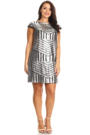 C.O.C. Curve Womens Plus Size Sequin Patterned Mini Dress at Amazon ...