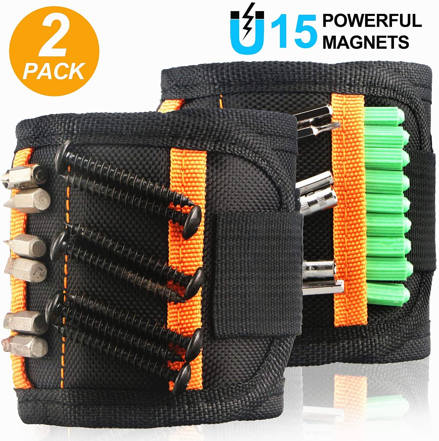 Magnetic Wristband Gifts for Men, 2 Pack Tool Belt with 15 Powerful Magnets for Holding Screws Nails Drill Bits, Unique Men Gifts Gadget for Father/Dad, Husband, DIY Handyman, Woodworker 81F4RR1DLyL