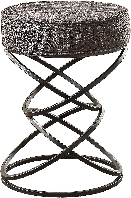 Homelegance Yara Artistic Interconnecting Circles Regular-Height Metal Stool, Grey