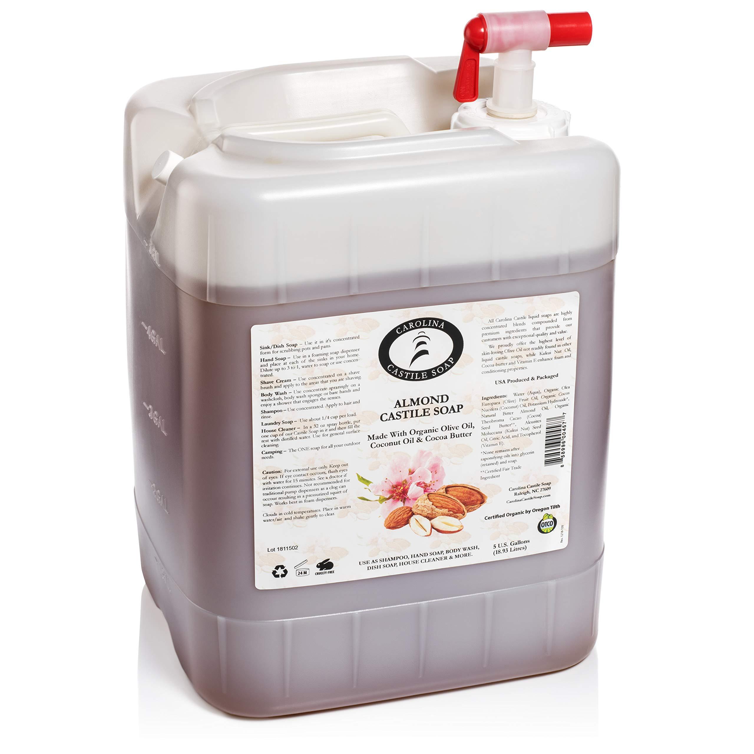 Carolina Castile Soap Almond w/Organic Cocoa Butter (5 Gallon Jug)