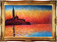 overstockArt San Giorgio Maggiore by Twilight Framed Oil Reproduction of an Original Painting by Claude Monet, Victorian Fra
