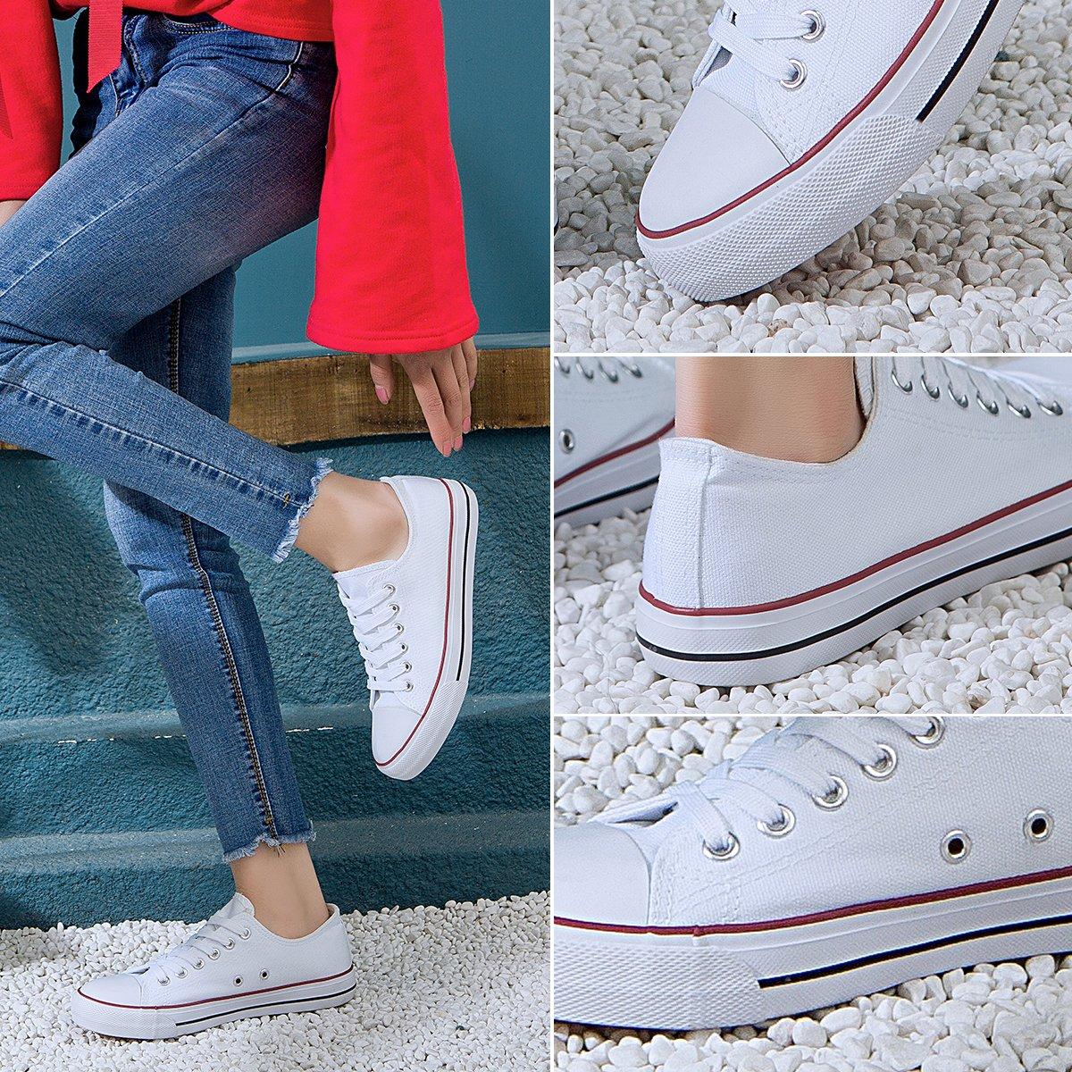 AOMAIS Womens Canvas Shoes Sneaker Low Top Lace up Fashion Walking Shoes (US7, white1) … by AOMAIS (Image #4)