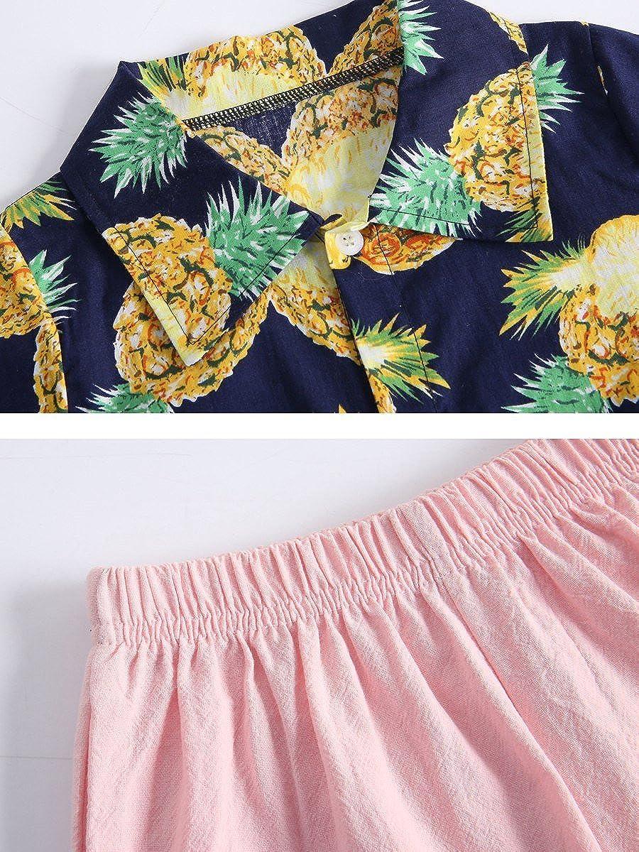 Sanlutoz Ragazze Vacanza Ananas Moda Casuale Vestiti Impostato Bambini Estate Capi di Abbigliamento