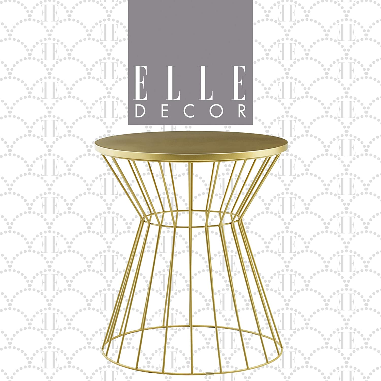 Elle Decor Lulu Round Hourglass Metal Side Table, Small Modern Accent Nightstand for Living Room, Gold