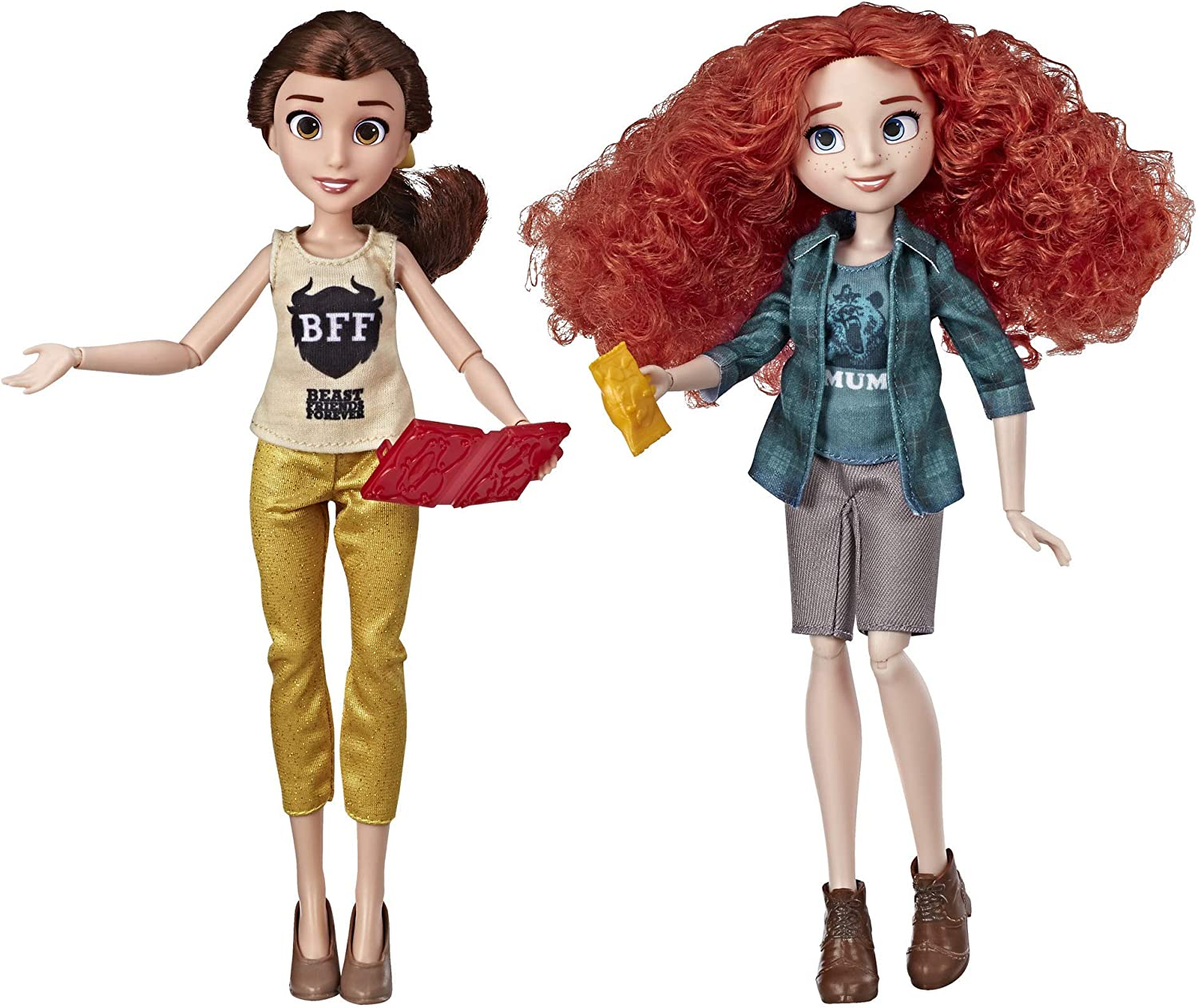 Amazon Com Disney Princess Ralph Breaks The Internet Movie Dolls Belle And Merida Dolls With Comfy Clothes And Accessories Toys Games
