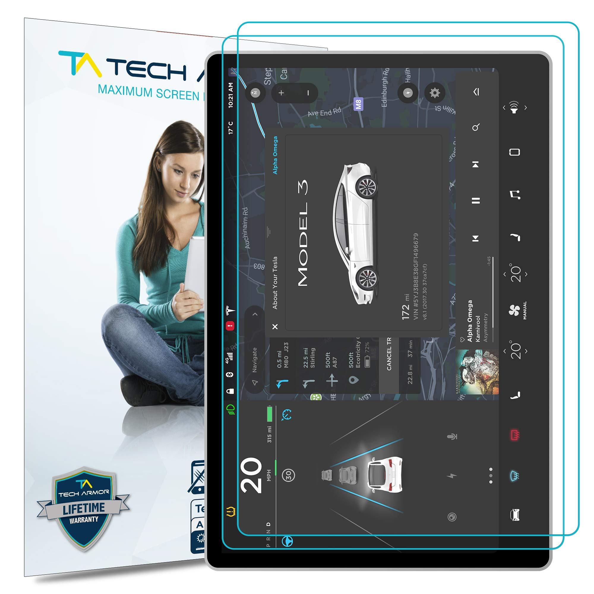 Tech Armor Anti-Glare/Anti-Fingerprint Screen Protector for Tesla Model 3 (15'') [2-Pack]