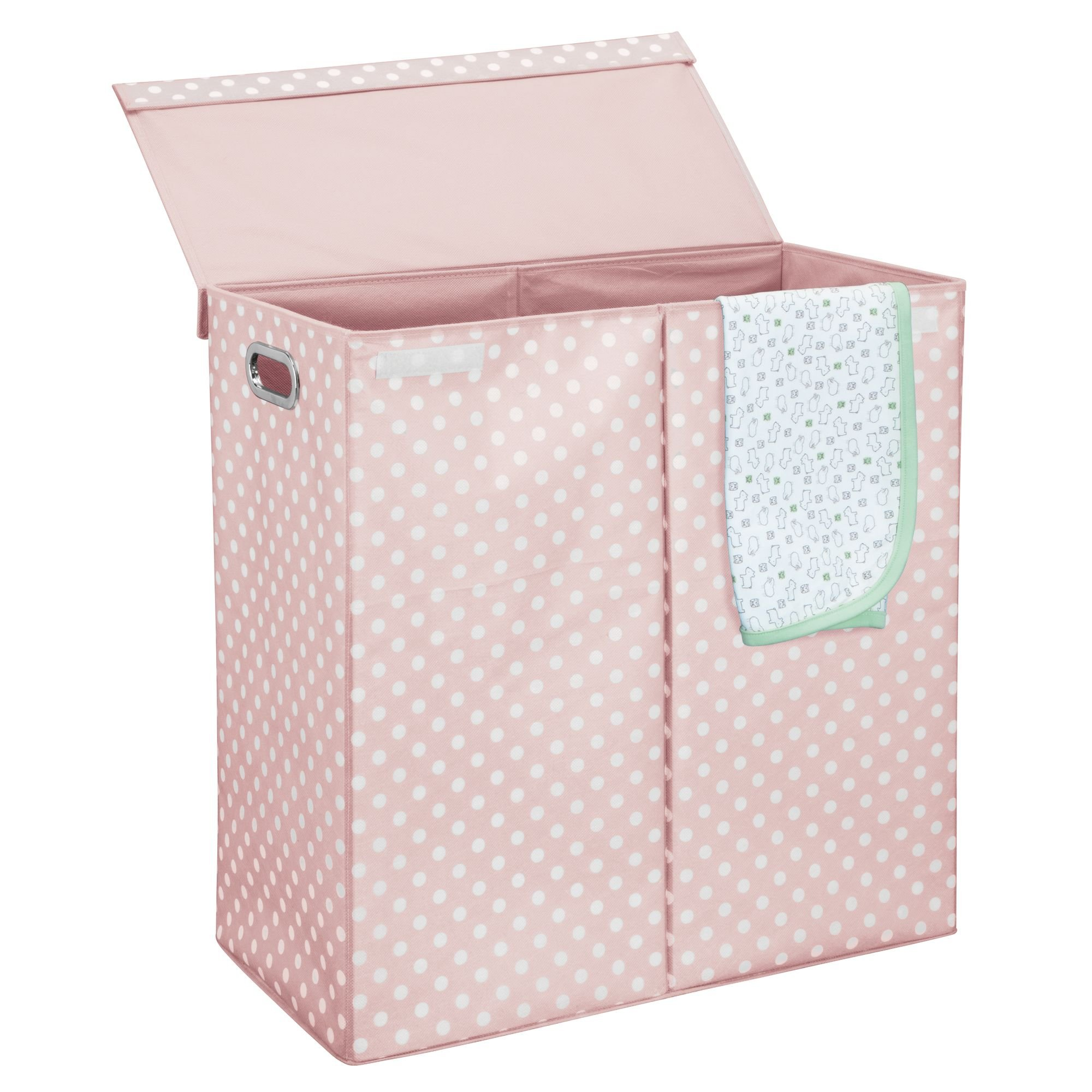 mDesign Extra Large Divided Laundry Hamper Basket with Removable Lid, Built-in Handles - Portable and Foldable for Compact Storage - Fun Polka Dot Pattern - Light Pink with White Dots, Chrome Handles by mDesign