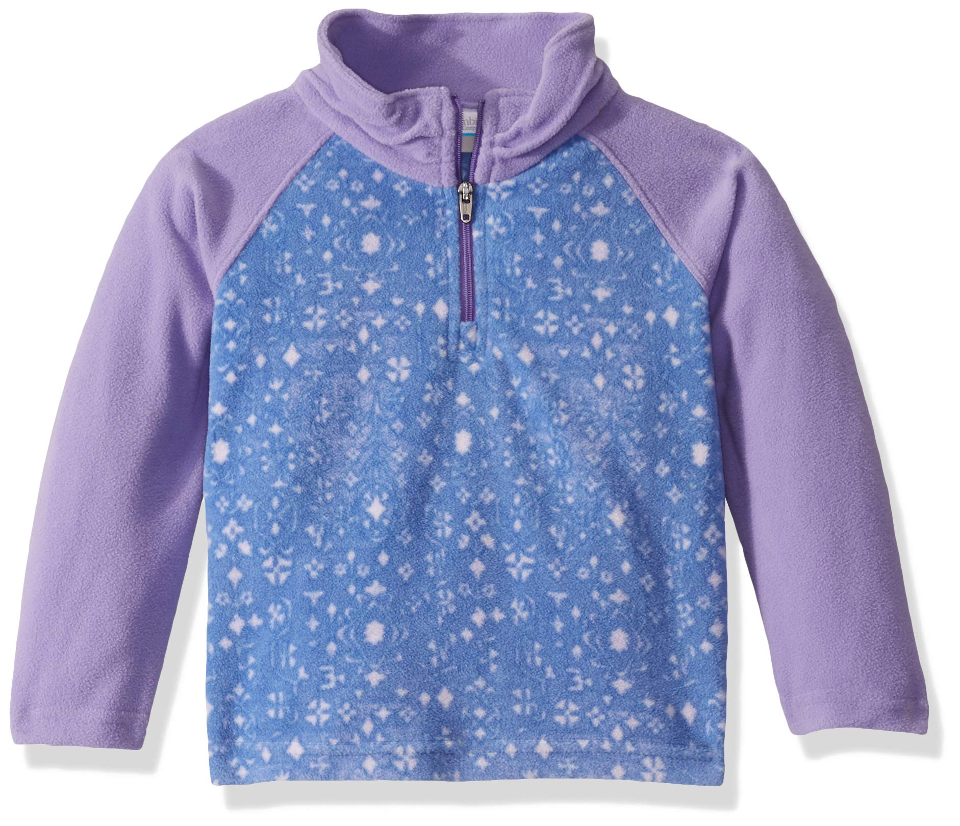 Columbia Girls' Big Glacial II Fleece Print Half Zip, Floral/Paisley Purple, Large by Columbia