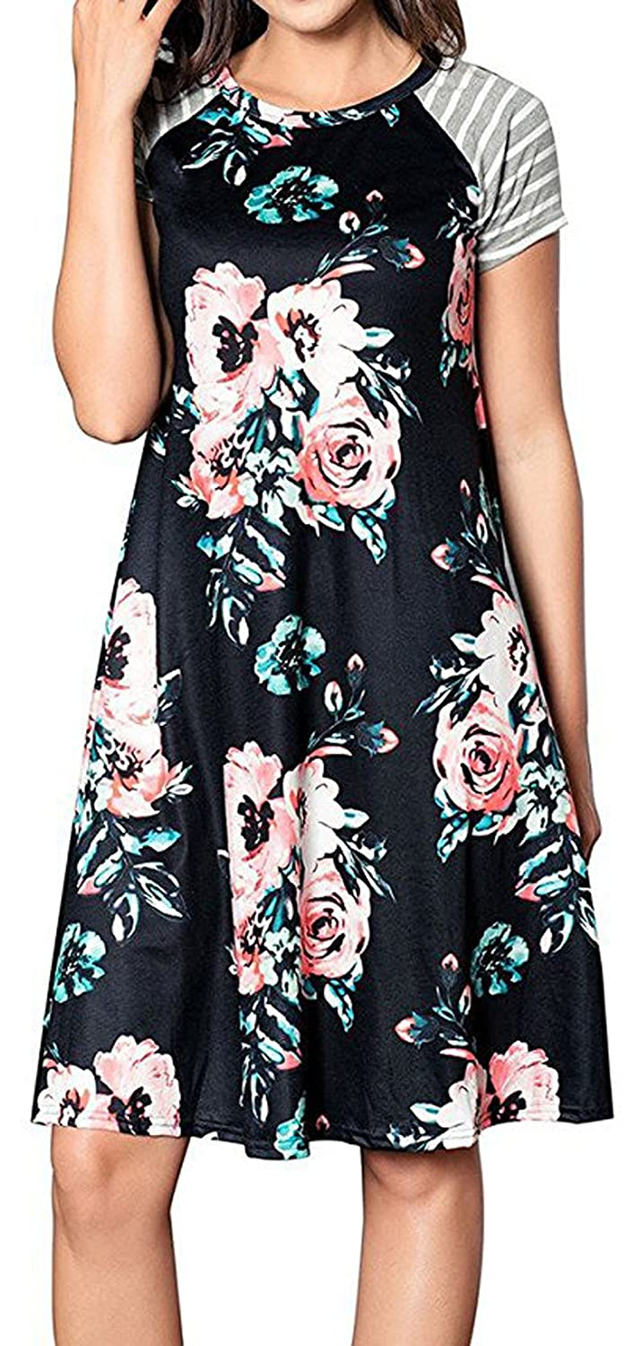 6e97271df36 Happyyip Women s Casual Short Sleeve Floral Print Loose A-line T-shirt  Dresses at Amazon Women s Clothing store