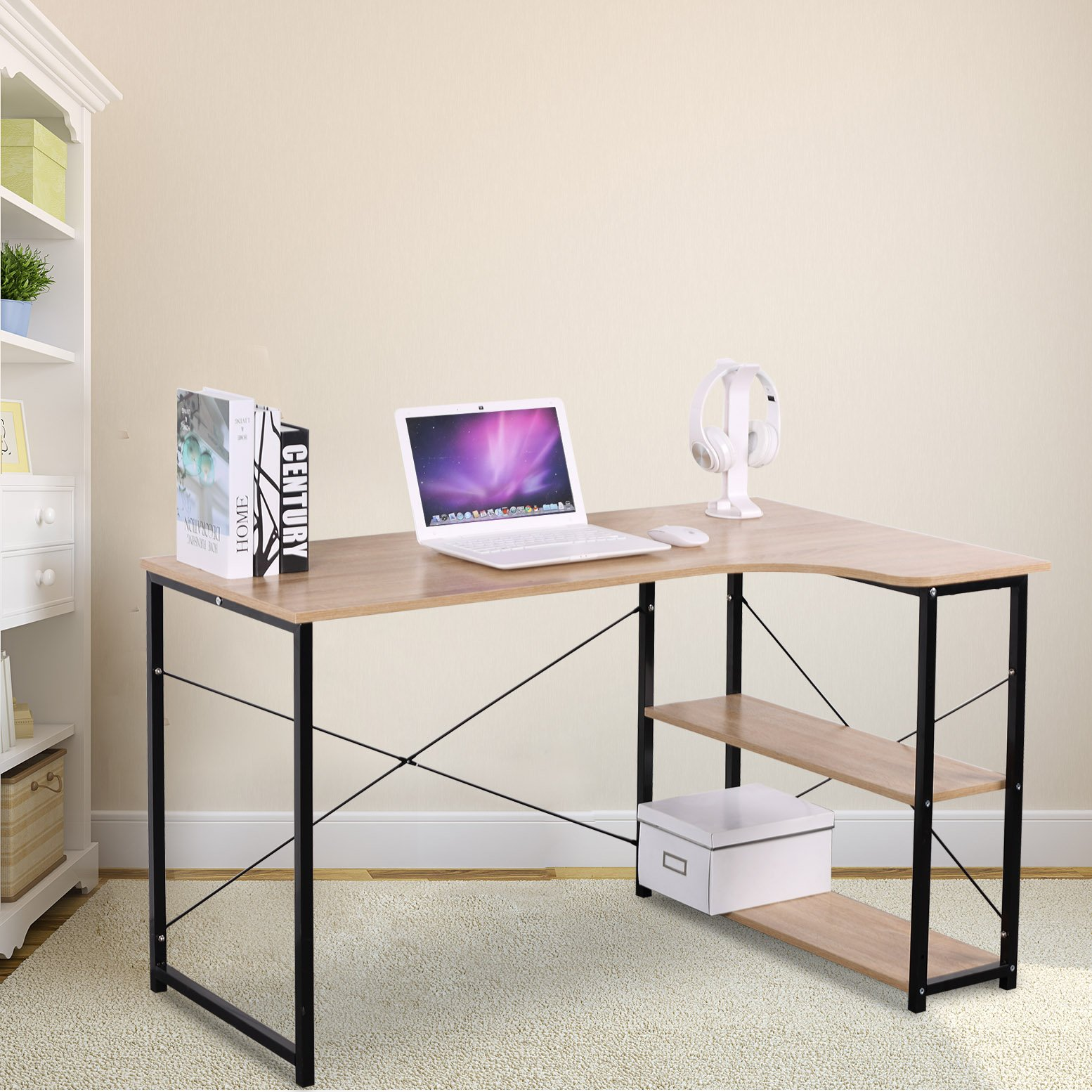 WOLTU Office Computer Desk for Small Spaces with 3 Tier Shelf Storage