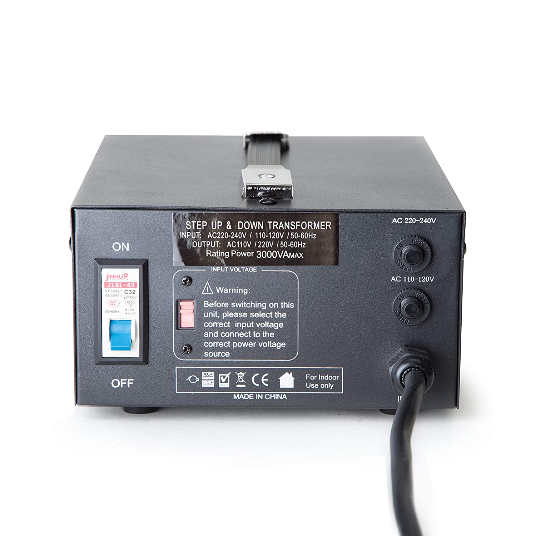 ELC T-3000 3000-Watt Voltage Converter Transformer - Step Up/Down -  110V/220V - Circuit Breaker Protection