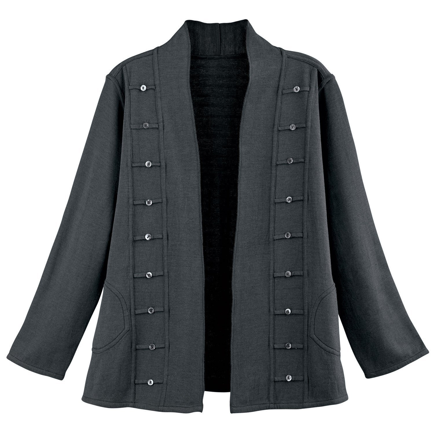Parsley & Sage Women's Reversible Open-Front Jacket - Military-Style Coat - Charcoal - Large