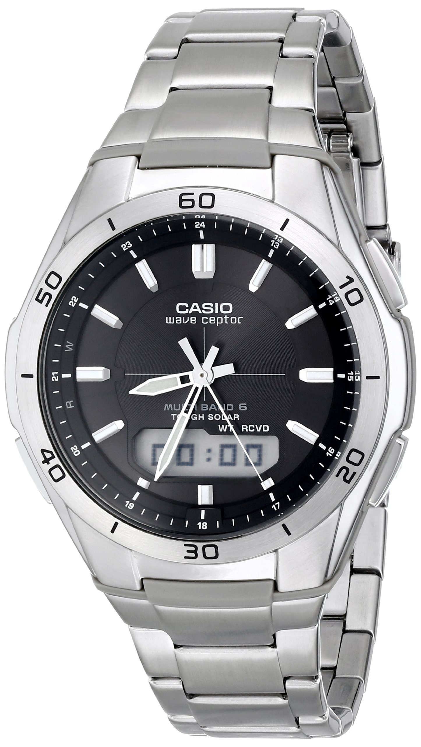 Casio Men's Wva-M640D-1Acr Wave Ceptor Analog-Digital Stainless Steel Bracele.. 6