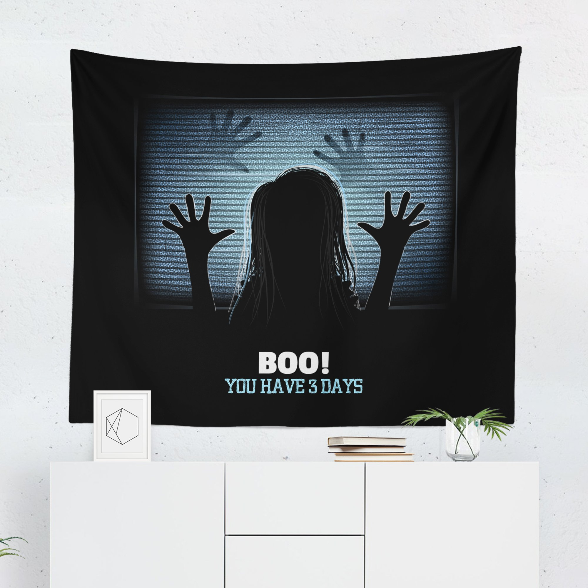 Funny Halloween Tapestry - Spooky Horror Movie Creepy Scary Wall Tapestries Hanging Décor Bedroom Dorm College Living Room Home Art Print Decoration Decorative - Printed in the USA