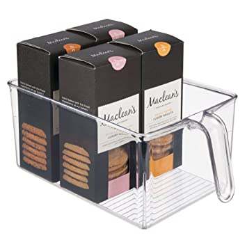 mDesign Caja de almacenamiento de plástico – Ideal para el almacenaje en la cocina, el
