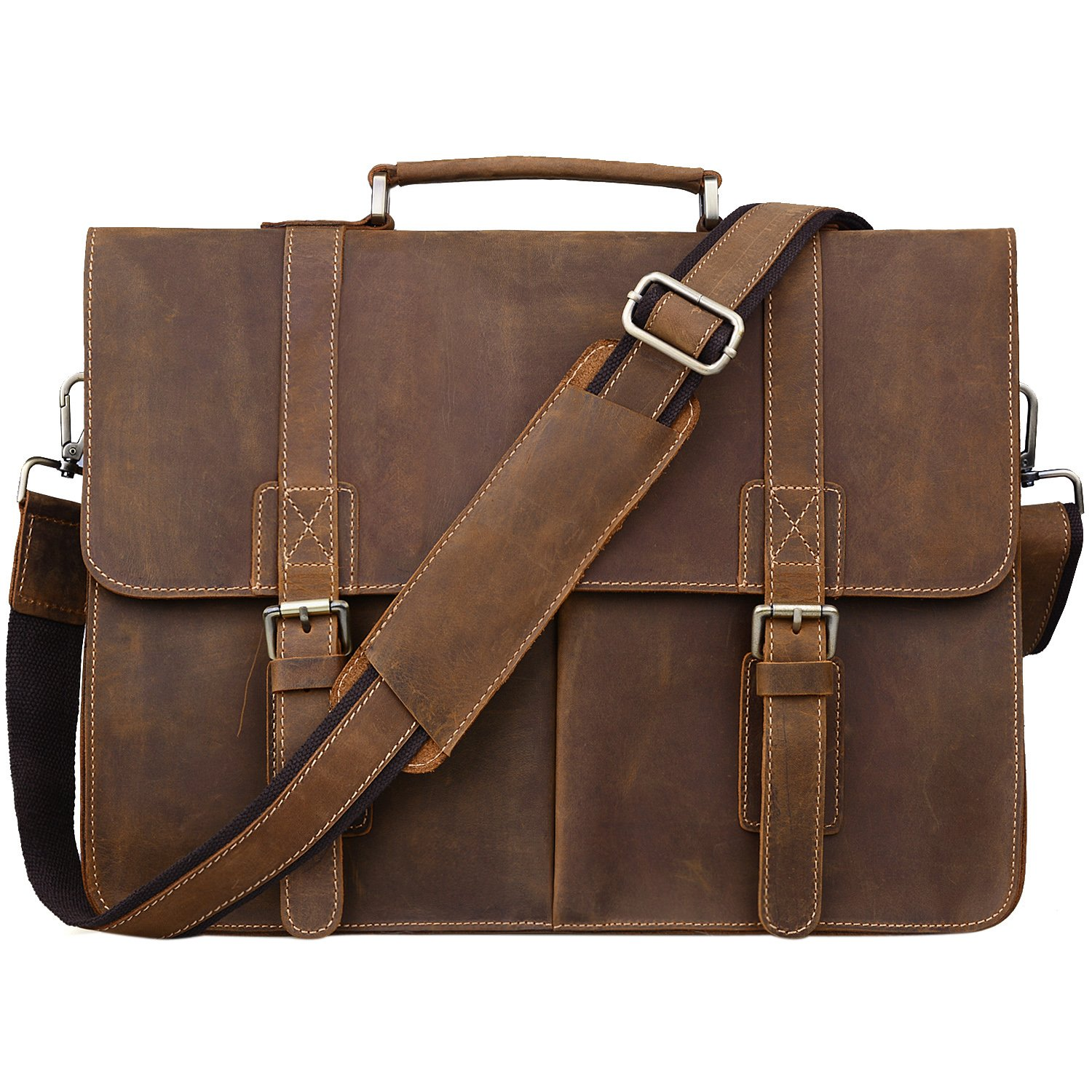 Jack& Chris Men's Leather Briefcase Messenger Bag Business Laptop Bag, N1115
