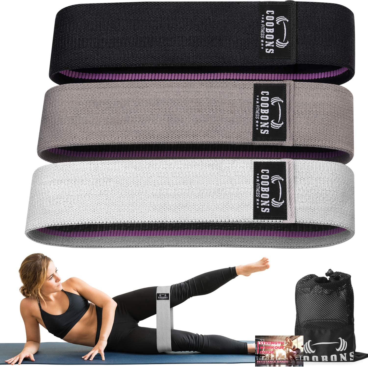 3 Levels Fabric Workout Bands Exercise Band Resistance Bands for Legs and Butt