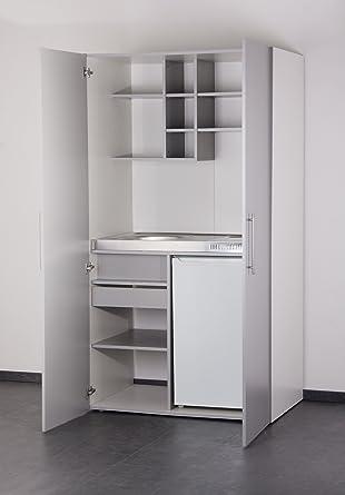 Mebasa MK0011S Schrankküche, Miniküche, Single Küche in Silber ... | {Miniküche mit kühlschrank 40}