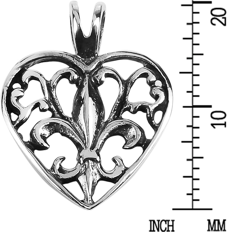 Fleur De Lis Design Heart .925 Sterling Silver Pendant 1 long