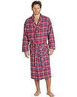 EVERDREAM Mens Flannel Robe, Shawl Collar Lightweight 100% Cotton Bathrobe