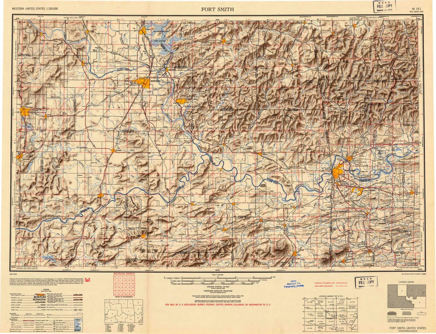 YellowMaps Fort Smith OK topo map, 1:250000 Scale, 1 X 2 Degree,  Historical, 1946, 23.7 x 30.9 in