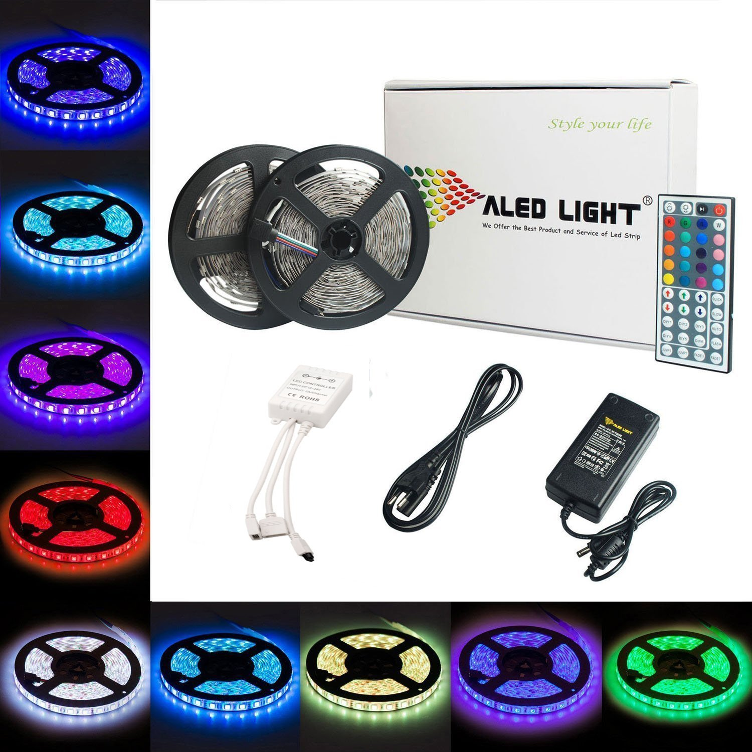 LED Strip Lights Kit, ALED Light LED Flexible Light Strip 32.8Ft/2x5M 5050 150LEDs Non-Waterproof RGB Strip Lighting with Remote DC 12V Power Supply for DIY/Christmas/Party/Decoration (2 Pack)