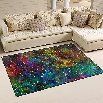 Naanle Universe Nebel Night Starry Sky Rutschfeste Bereich Teppich