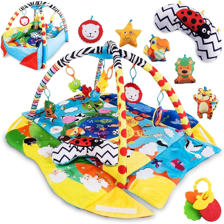 Lionelo Anika Alfombrilla educativa 115 x 100 x 53 cm 12 kg Almohada Tummy Time 2 arcos 4 juguetes colgantes - sonajeros mordedores Espejo Libro interactivo Amarillo y Azul