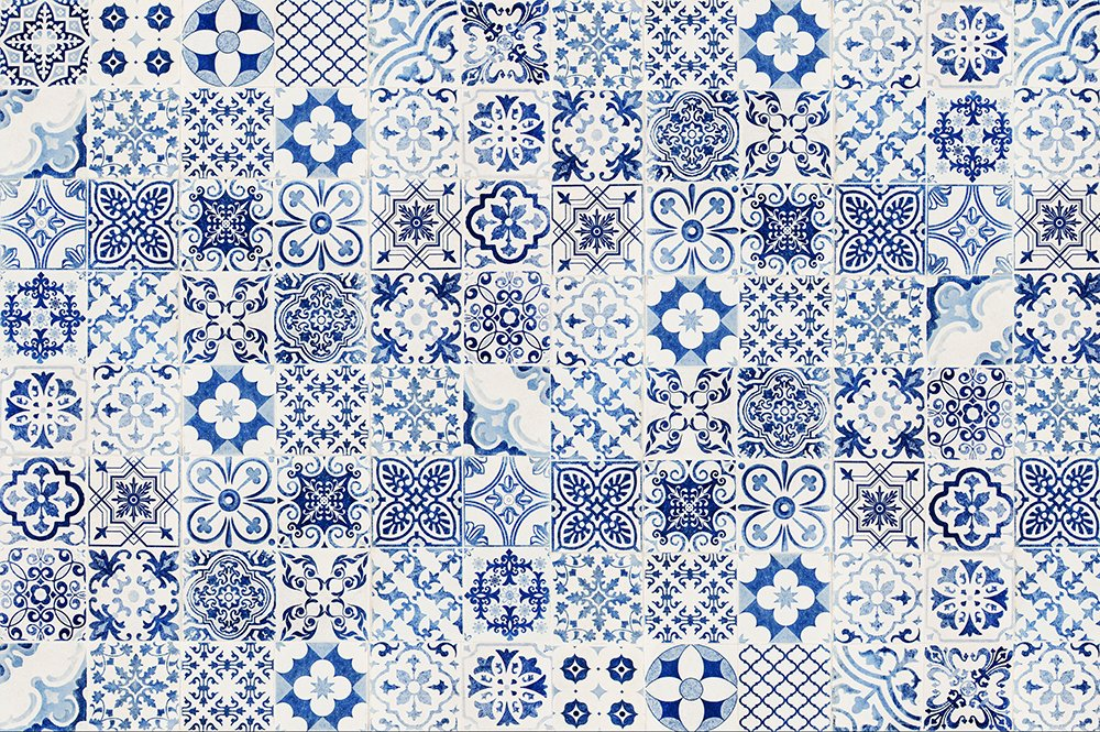 Viniliko Teppich Port Grimaud, Vinyl, blau, 200 x 133 x 3 cm