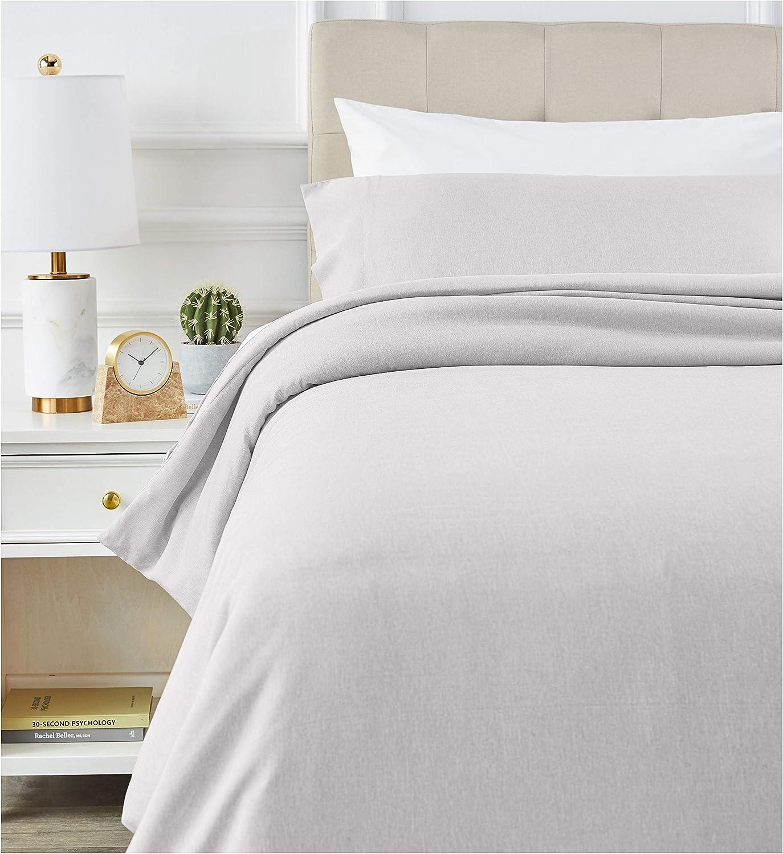 AmazonBasics - Juego de ropa de cama con funda de edredón, de microfibra, 135 x 200 cm, Gris claro