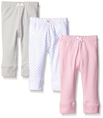Baby Bottoms 6 Months Luvable Friends Baby 3 Pack Tapered Ankle Pant, Pink/Gray, 0-3 Months