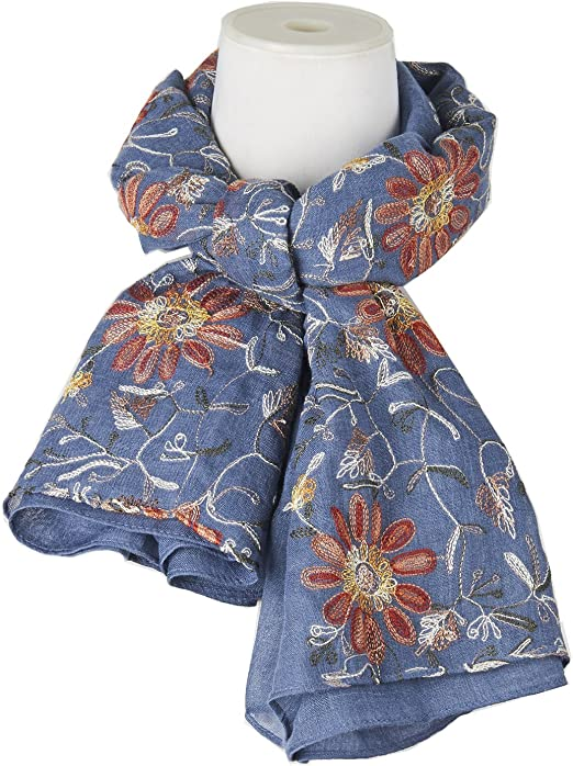 Ladies Womens Daisy Flower Print Scarf Pink Beige Blue Daisies Pretty Scarf Gift