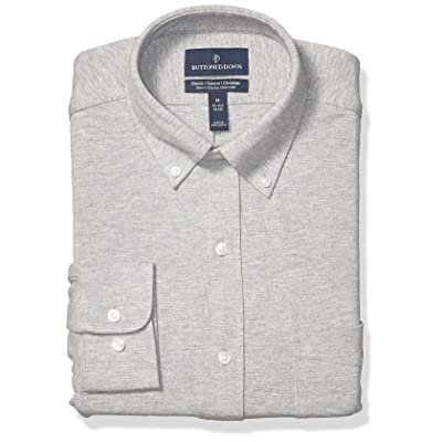 Amazon Brand - BUTTONED DOWN Men's Classic Fit Stretch Knit Dress Shirt, Supima Cotton, Button-Collar: Clothing