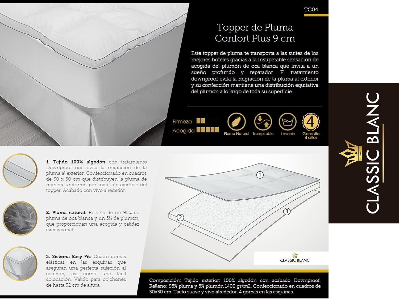 ACOMODAT Topper de Pluma Confort Plus 9 cm TC04 - Classic Blanc 150x200 cm: Amazon.es: Hogar