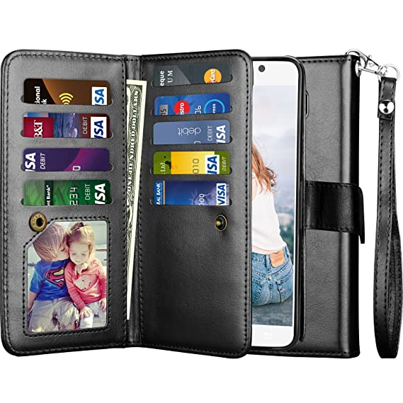 3ebdf7f03838 Njjex for Galaxy Note 5 Case, for Samsung Note 5 Wallet Case, PU Leather [9  Card Slots] ID Credit Cash License Protective Folio Flip Cover ...