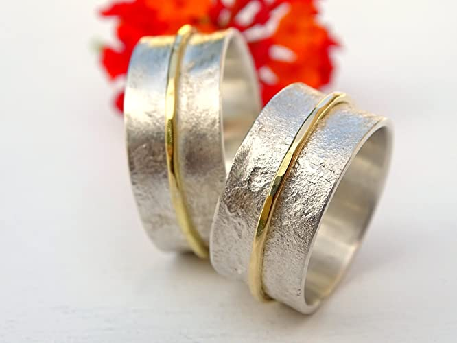 silver gold wedding rings viking wedding bands matching ring set his and hers - Viking Wedding Rings