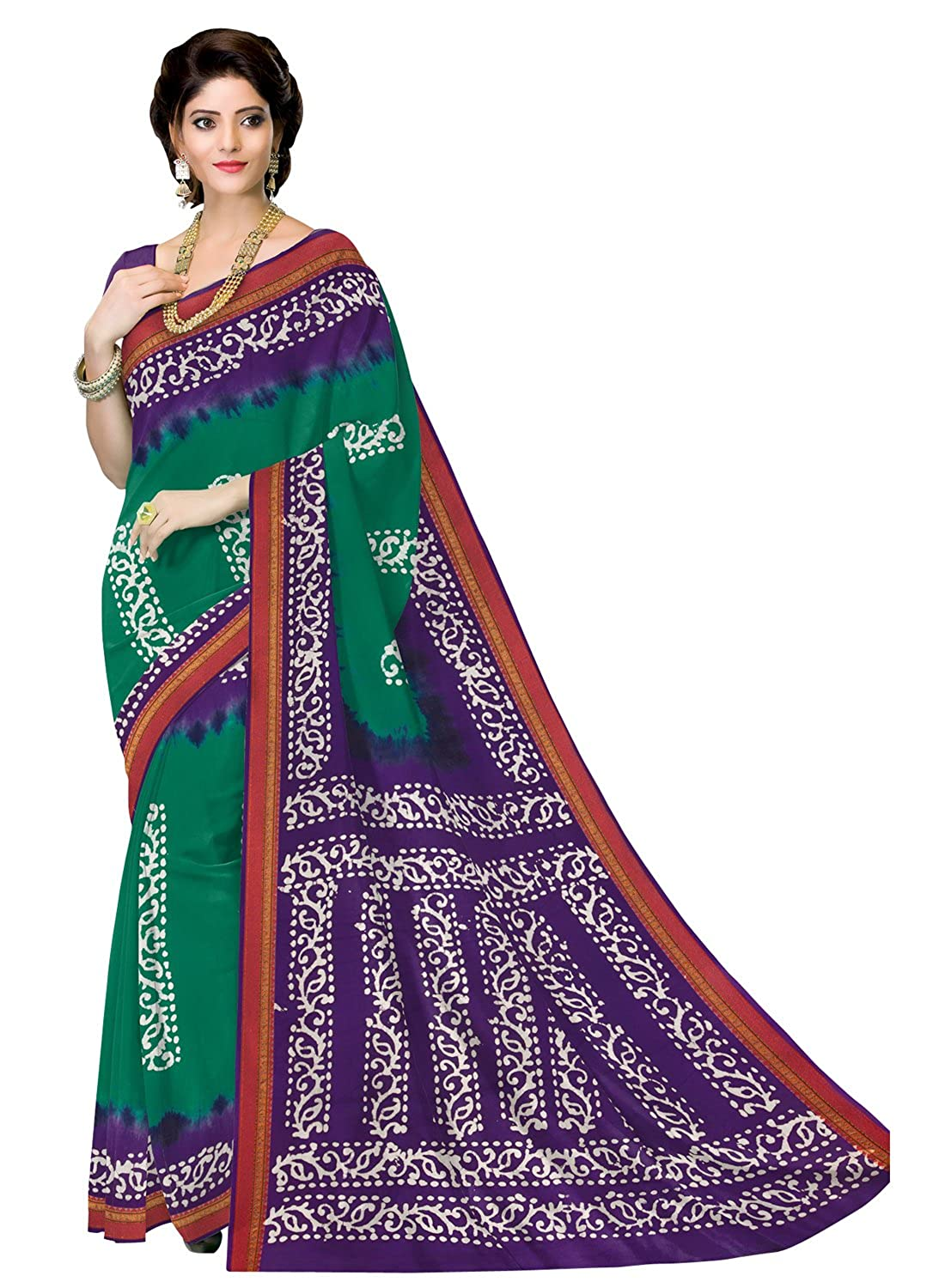 AngelFab Women's Purple and Green Printed Batik Saree with Unstiched Blouse