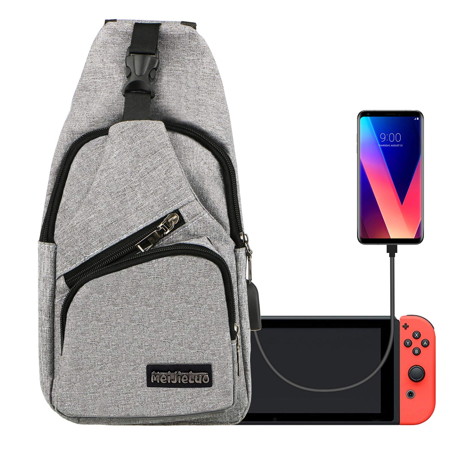 EEEKit Backpack Crossbody Travel Bag for Nintendo Switch Console Joy-Cons and Accessories, Charge Your Phone Via Side USB Charging Interface