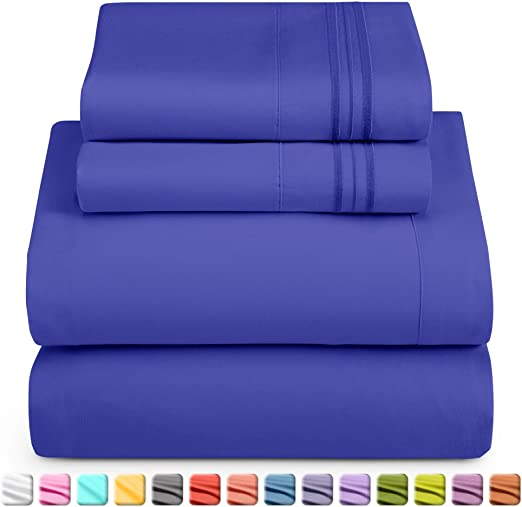 EASY CARE PREMIUM QUALITY 25 CM DEEP FITTED BED SHEETS COLOR ROYAL BLUE