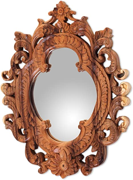 Amazon Com Novica Natural Suar Wood East Meets West Hand Carved Wall Mirror From Indonesia Mataram Rococo Home Kitchen