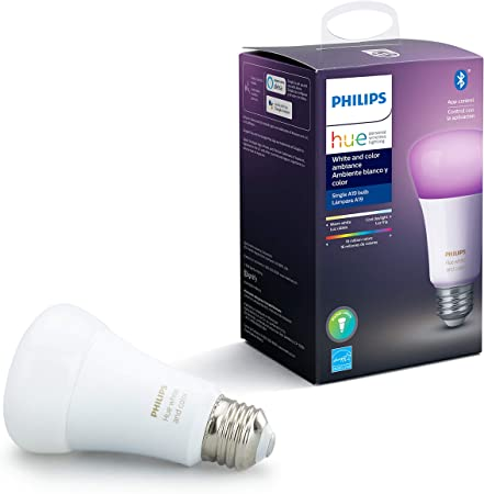 Philips Hue White And Color Ambiance A19 Led Smart Bulb Bluetooth Zigbee Compatible Hue Hub Optional Works With Alexa Google Assistant A