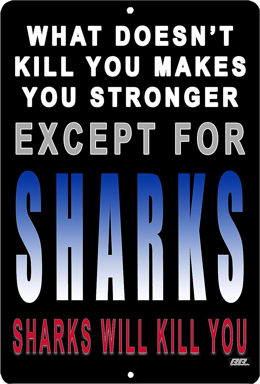 Rogue River Tactical Funny Boy's Bedroom Metal Tin Sign Wall Decor Man Cave Shark Sharks Will Kill You