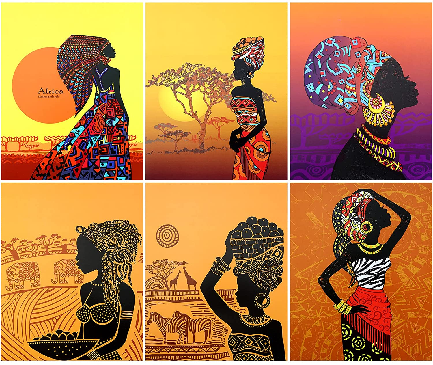 6 Pieces Retro Style African American Wall Art Painting Set Ethnic Ancient Theme Black Woman Wall Poster Room Wall Artworks for Home Decor Girls Bedroom Living Room, 8 x 10 Inch Unframed