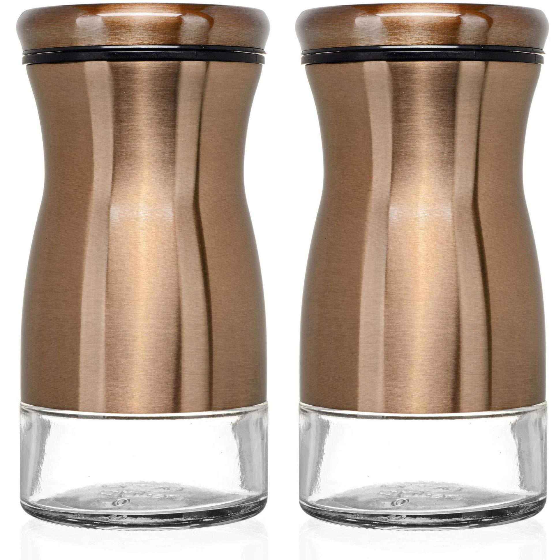 CHEFVANTAGE Salt and Pepper Shakers Set with Adjustable Pour Holes - Bronze by CHEFVANTAGE