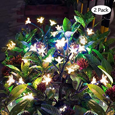 BLPOWER Garden Solar Lights Outdoor Decorative|LED Solar Powered Fairy Landscape Tree Lights|Beautiful Solar Flower Lights For Pathway Patio Yard Deck Walkway|Christmas Party Decor Yellow-Color 2Pack