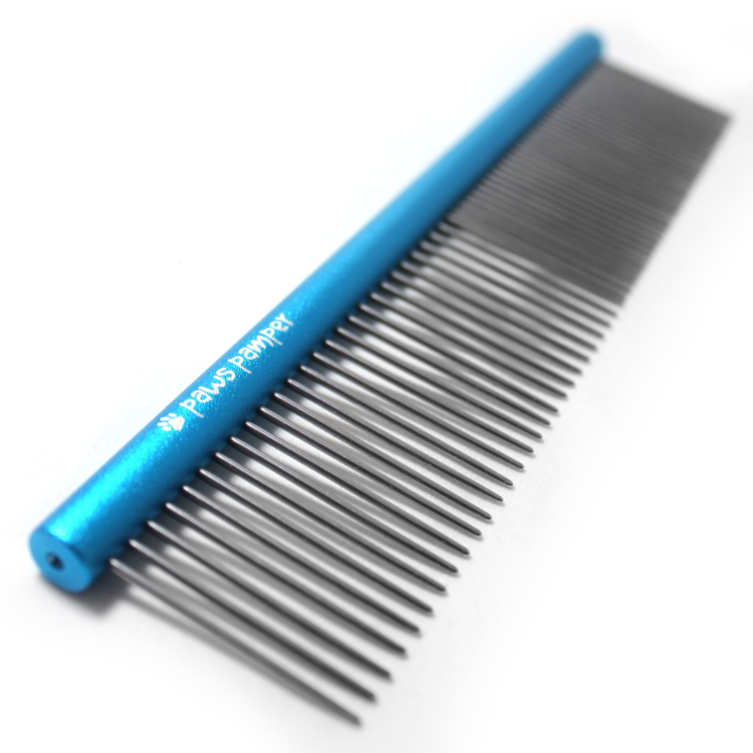 Paws Pamper Professional Grooming Comb for Dogs & Cats, Anti-Corrosion Spine, Tapered Stainless Steel Pins