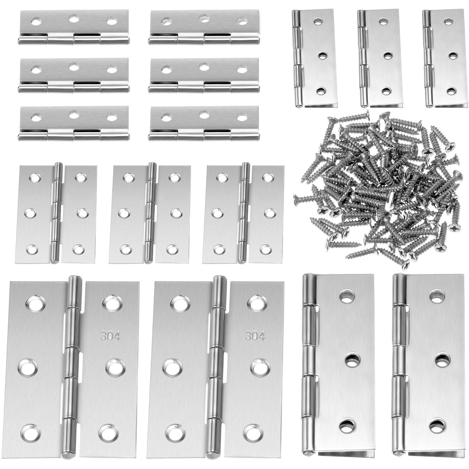 BOAO 16 Pieces 2 inch and 3 inch Stainless Steel Folding Butt Hinges Silver Tone Home Furniture Hardware Door Hinge with 96 Pieces Stainless Steel Screws
