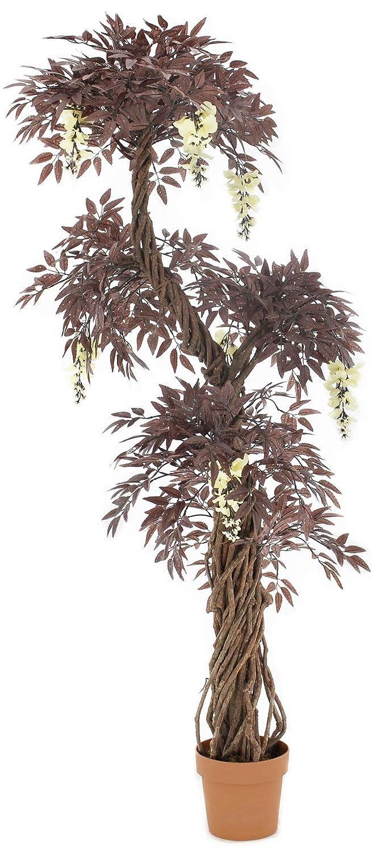 Vert Lifestyle Qualità rossa artificiale giapponese fruticosa albero con i fiori crema. Replica coperta Ufficio esterno Potato Albero, Pianta - 165 centimetri alto